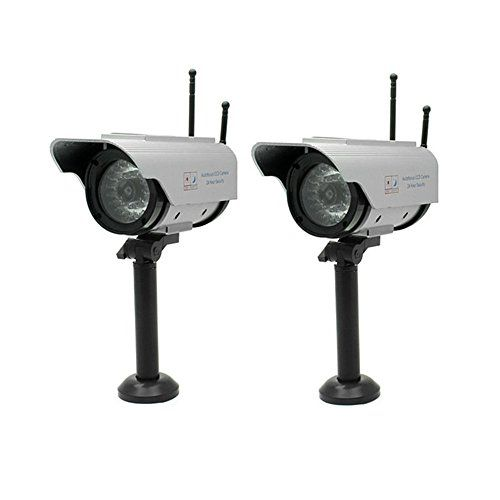 Seesii Brand Fake Dummy Solar Powered Security CCTV Camera Red Blinking LED with 2 Antennas 1/2/3/4pcs (pack of 2) * Click on the image for additional details.