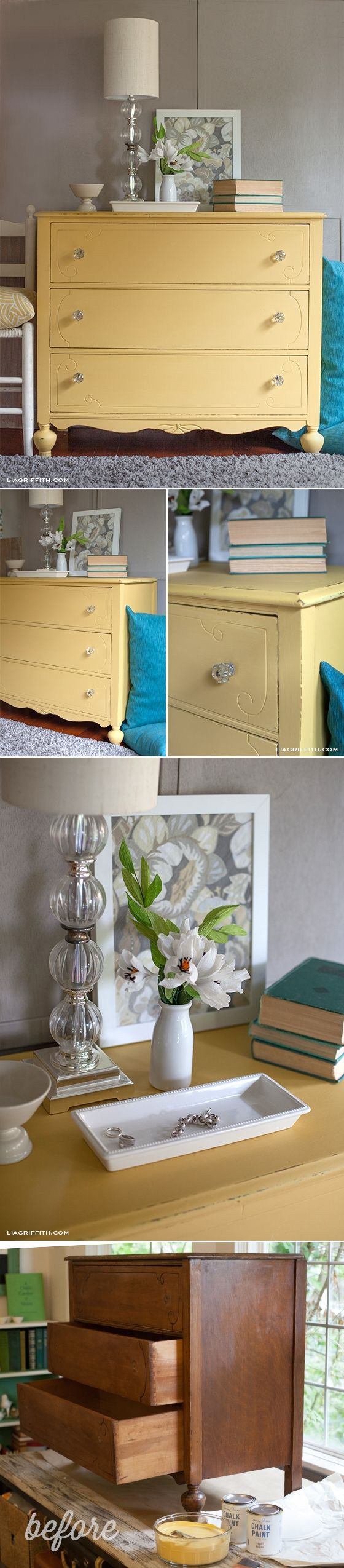 Chalk Paint a Yellow Dresser at www.liagriffith.com #upcycle #chalkpaint