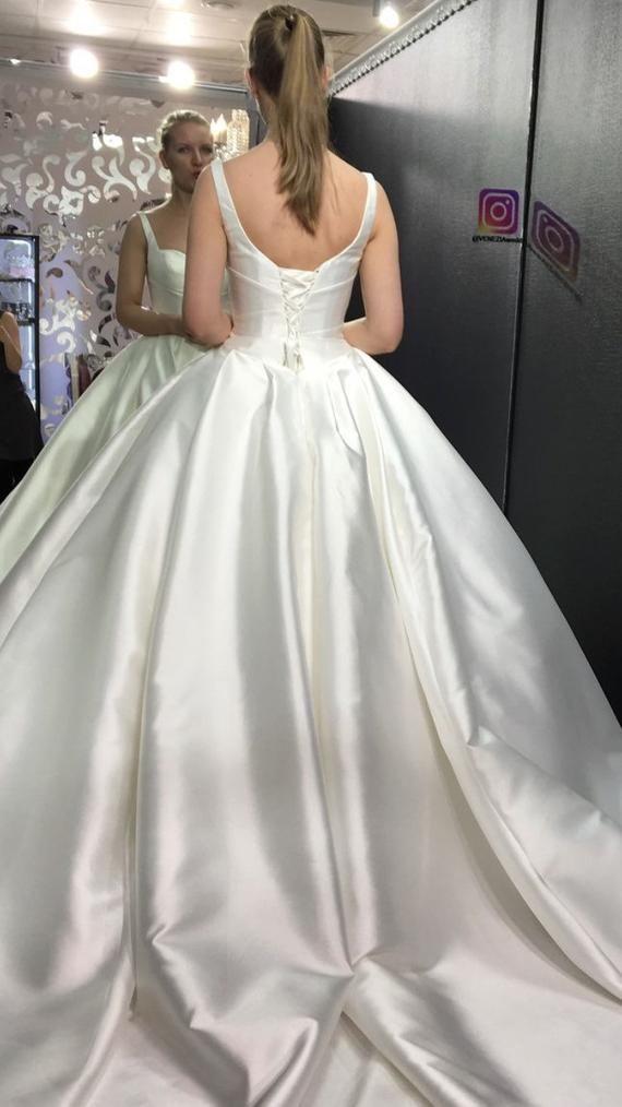 Minimalistic Open Mikado Wedding Dress Priscilla With Straps