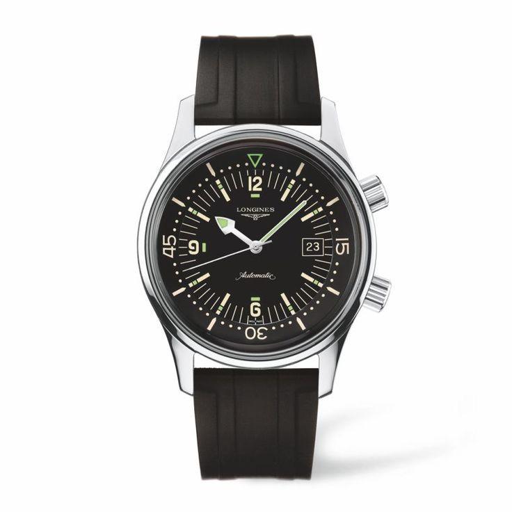 The LONGINES Legend Diver Watch - L36744509 Heritage Collection - Ανδρικό καταδυτικό αυτόματο ρολόι LONGINES με καουτσούκ | LONGINES ρολόγια Χαλάνδρι #heritage #longines #ρολόγια