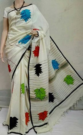 Pure cotton Handloom Aplic over Khes Saree with BP.