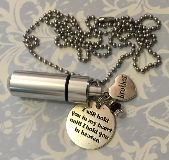 Brother Cremation Urn Memorial Silver Bullet Stainless Steel Pendant Necklace