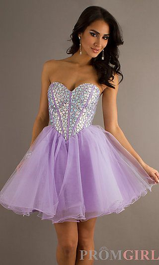 Strapless Purple Party Dress at PromGirl.com
