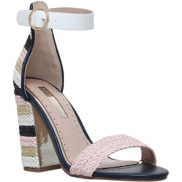 Miss KG Ebony Block Heeled Sandals (£75) ❤ liked on Polyvore featuring shoes, sandals, metal comb, strappy block heel sandals, buckle strap sandals, high heels sandals, ankle strap high heel sandals and flat sandals