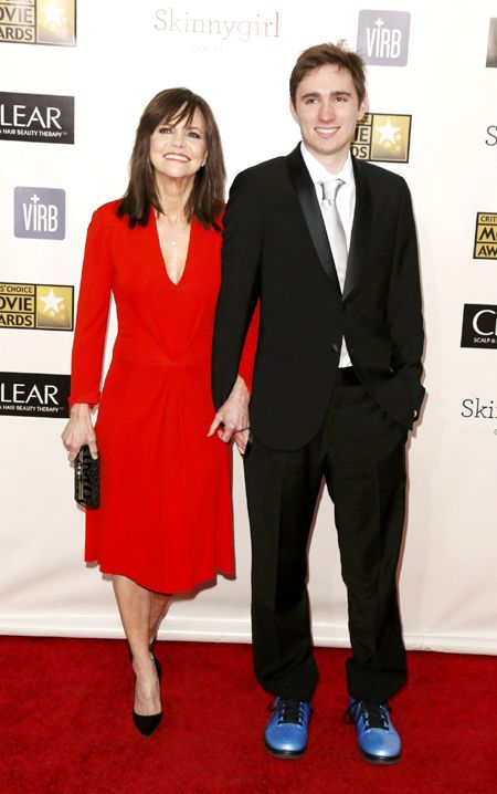 "Actress Sally Field from ""Lincoln"" and he son Sam Greisman pose on arrival at the 2013 Critic's Choice Awards in Santa Monica, California January 10, 2013."