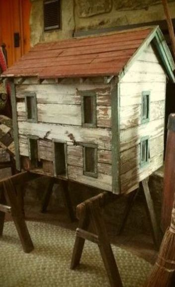 Antique Tennessee Folk Art Primitive Doll House Circa 1890, nice old dollhouse. .....Rick Maccione-Dollhouse Builder www.dollhousemansions.com