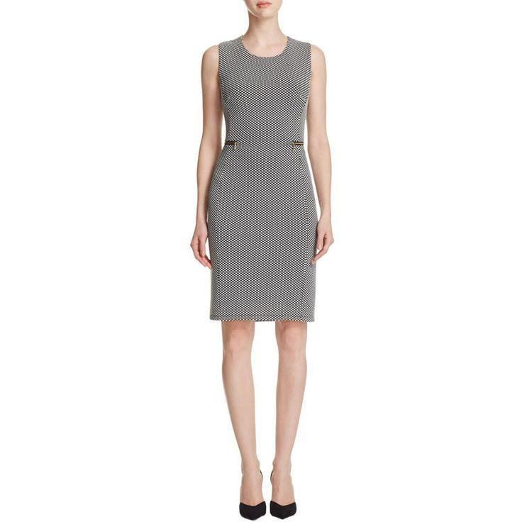 Calvin Klein Womens Polka Dot Sleeveless Wear to Work Dress