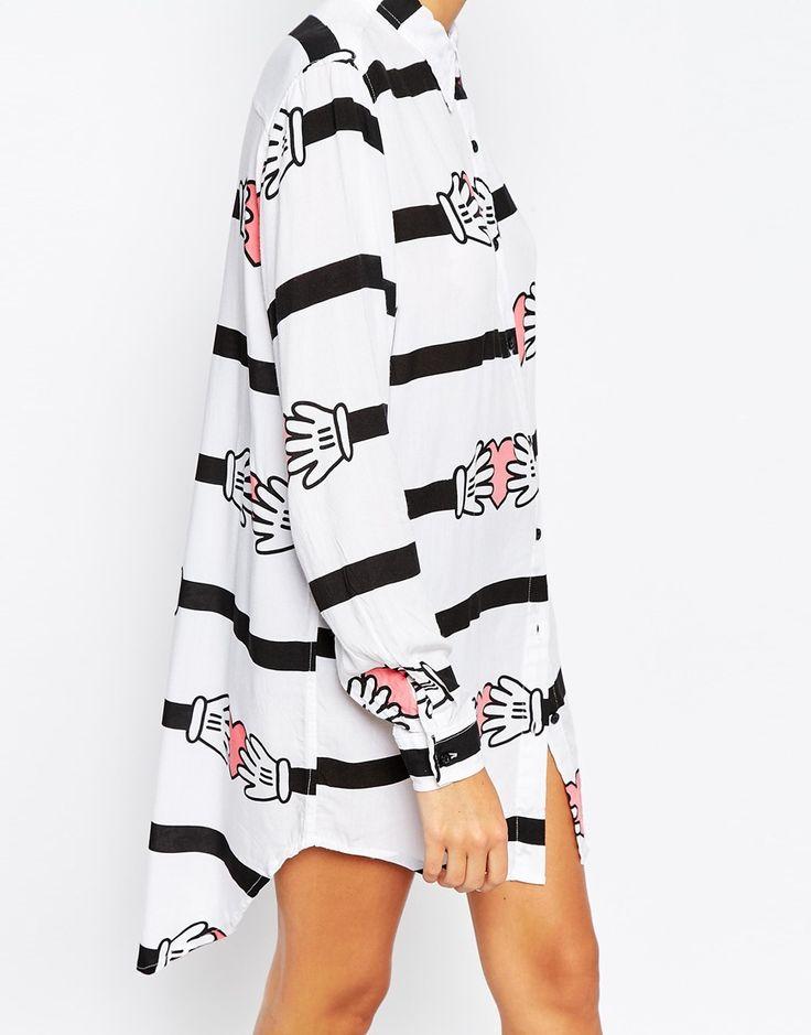Immagine 3 di Lazy Oaf - Camicia oversize con stampa a righe e mani con cuore