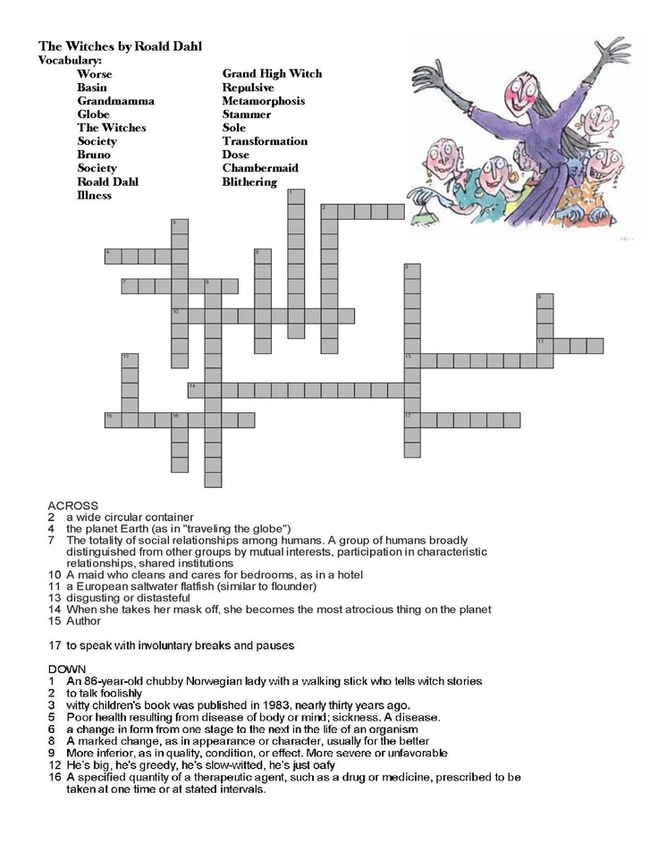"My students loved Roald Dahl's ""The Witches."" So for Halloween I wanted to give them some extra activities centered around the book. I found one mad lib and some writing activities so I decided to make my own cross word puzzle."