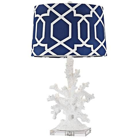 Dimond Trunk Bay Gloss White Faux Coral Table Lamp - #9W345 | Lamps Plus
