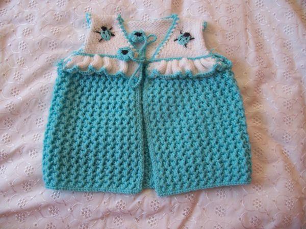 Mavi beyaz bebek hırkası yeni 1