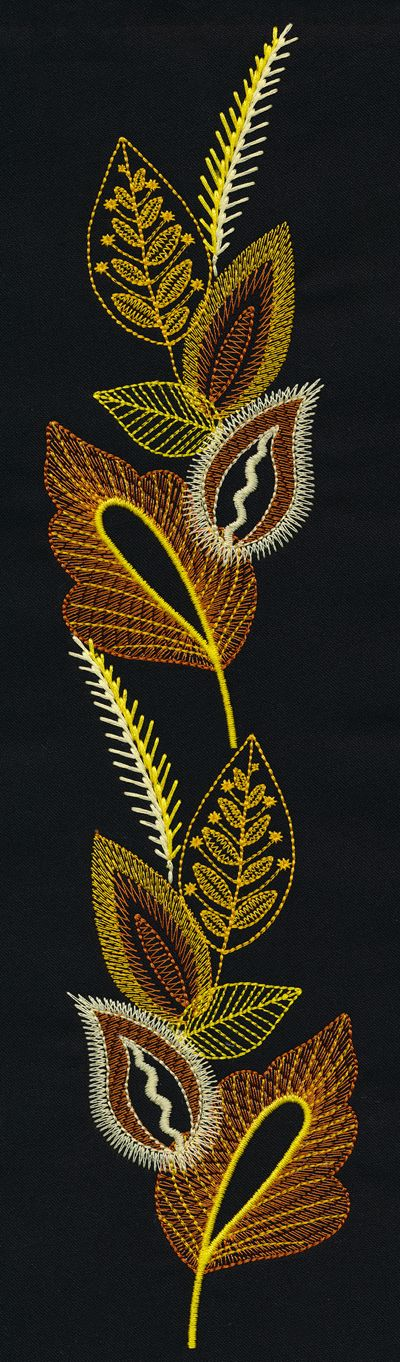"Layered Leaves http://www.embroideryonline.com/c-150-meet-the-design-team.aspx ----I used to do machine embroidery and was quite good if I do say so myself. This inspires me to think about it again with my more ""high tech"" sewing machine."