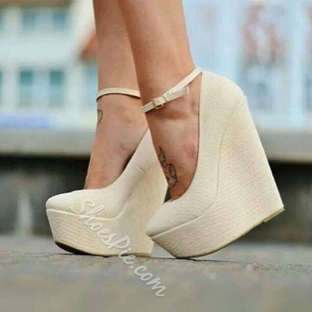 Solid Color Wedge Heels - Beige