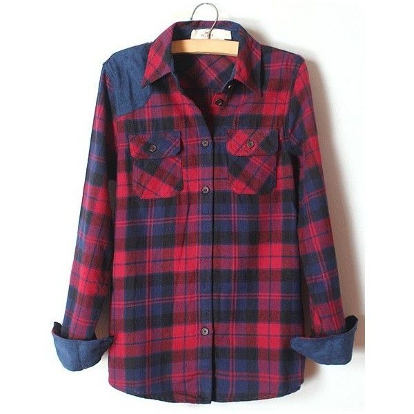 Blue Lapel Long Sleeve Plaid Pockets Shirt found on Polyvore featuring polyvore, women's fashion, clothing, tops, shirts, blouses, flannels, blue, long-sleeve shirt and blue long sleeve shirt