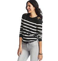Sequin Shoulder Striped Sweater - Sequin appliques give a glam twist this soft striped knit, for everyday gorgeous that's heads (and shoulders) above the rest. Crew neck. Long sleeves. Ribbed neckline, cuffs and hem.