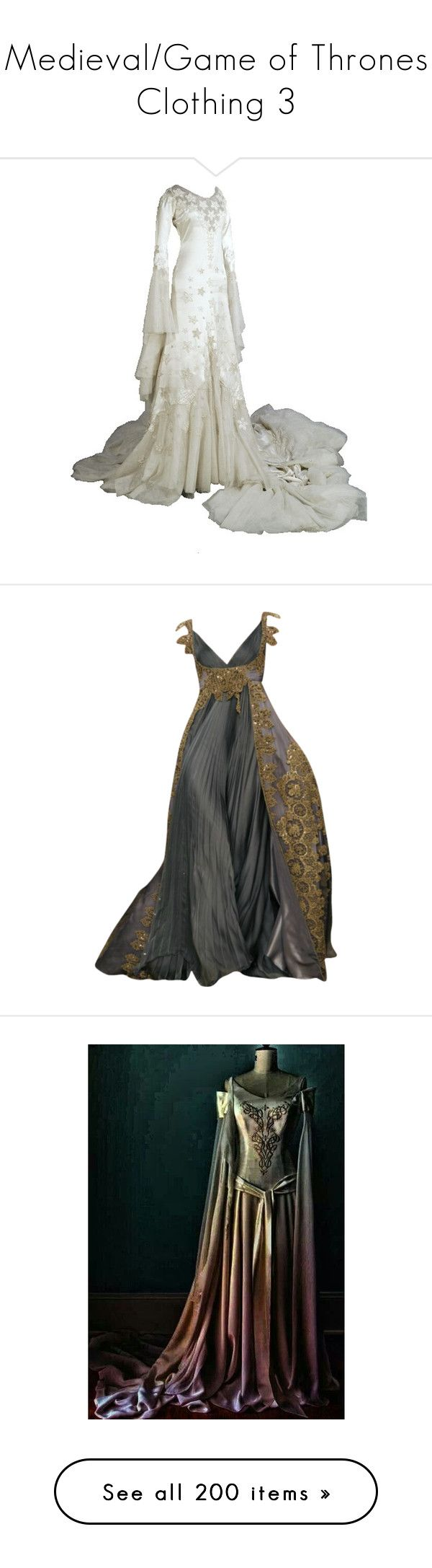 """Medieval/Game of Thrones Clothing 3"" by emma-frost-98 ❤ liked on Polyvore featuring dresses, gowns, costumes, medieval, vestidos, long dresses, zuhair murad dresses, zuhair murad, zuhair murad evening gowns and zuhair murad gowns"