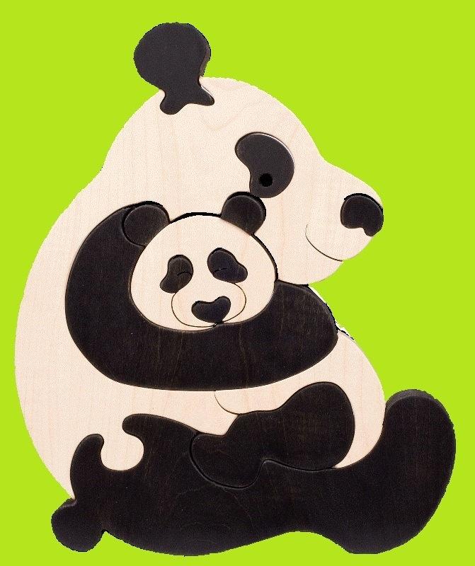 Panda family Montessori  Waldorf wooden puzzle made by Ludimondo, $24.00