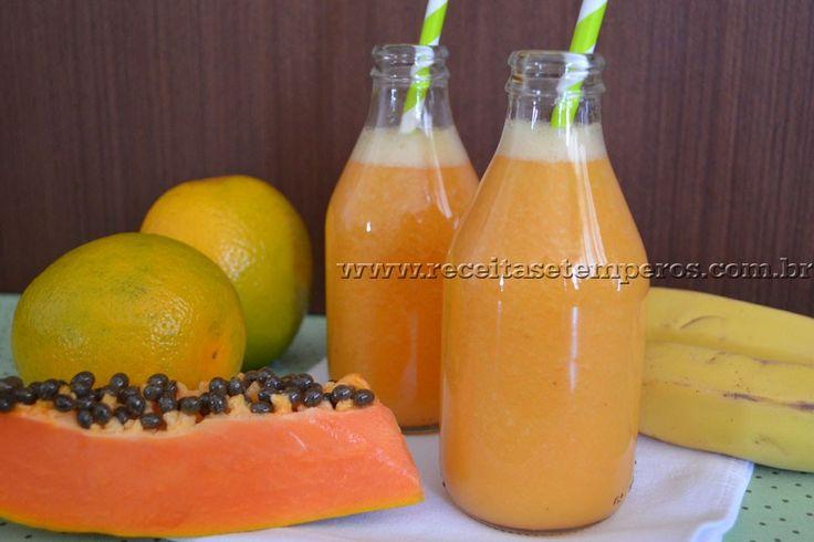 Suco de Laranja, Mamão e Banana   Receitas e Temperos