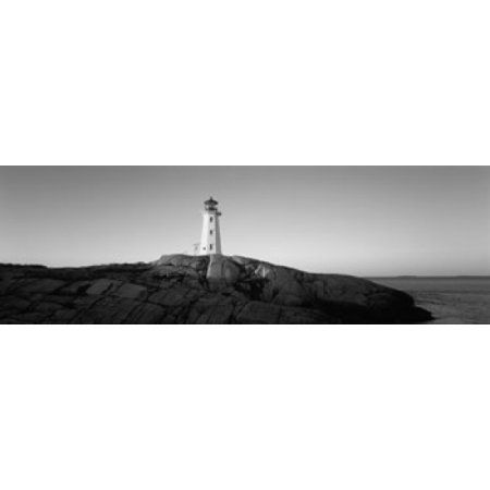 Lighthouse at the coast Peggys Point Lighthouse Peggys Cove Halifax Regional Municipality Nova Scotia Canada Canvas Art - Panoramic Images (36 x 12)