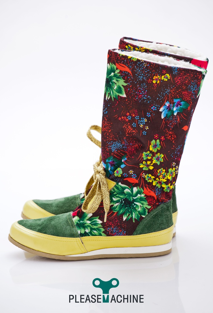 Recycled floral nylon + leather  Designer boots for Her  Handcrafted, One-off