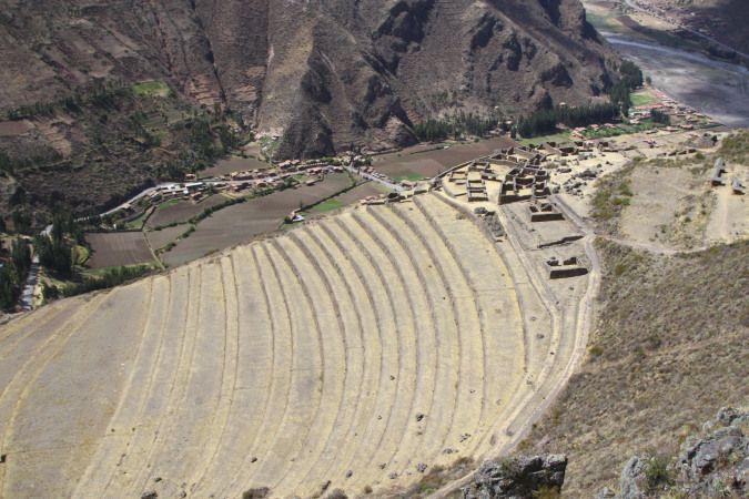 Inca buildings above terracing, Pisac, Peru