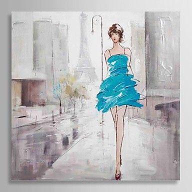 handmålade oljemålning människor flicka på gatan med sträckt ram – SEK Kr. 819