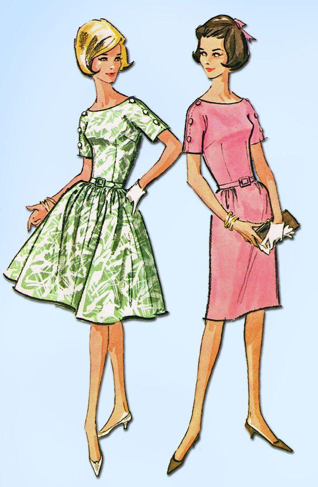 1960s Vintage McCalls Sewing Pattern Uncut Misses Dress Cute Sleeves Size 14 34B #McCalls #1960sDressPattern