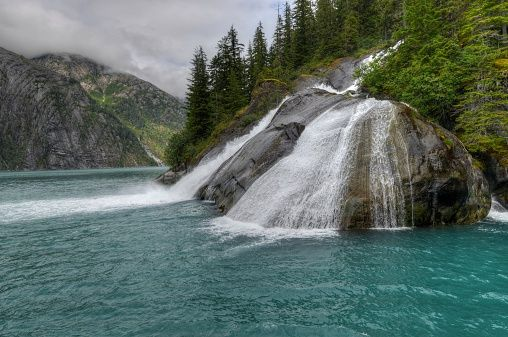USA, Alaska, Juneau, Tongass National Forest, Ice Falls in Tracy Arm Fjord