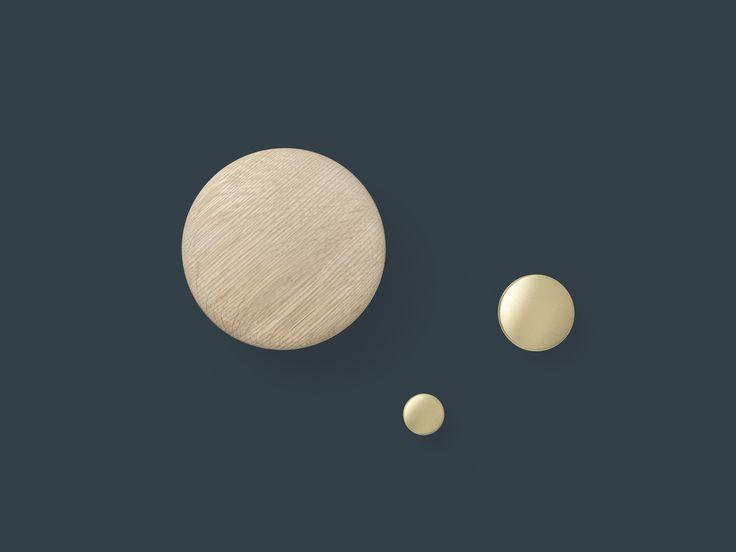 A member of the DOTS collection, these brass and aluminum dots are ideal for kitchens, bathrooms, bedrooms, and hallways. http://www.muuto.com/accessories/the-dots-metal
