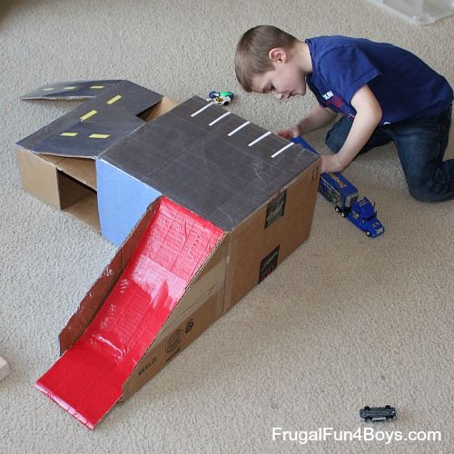 I want to do this tonight! Cardboard Box Parking Garage for Hot Wheels Cars