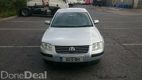 Lovely well minded Passat for sale with NCT till 2016 and TAX till October 2015. Car has electric windows and mirrors, air con, central locking, power steering.  Car had new brake pads and discs all round at the start of the year and was also fully serviced.  Timeing  belt and water pump done at 60K.Car is in good condition inside and out (usual marks for age but nothing serious)First to see will buy.#xtor=CS1-41-[share]