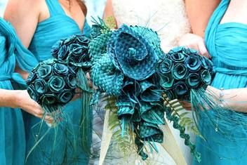 light blue flax bouquets