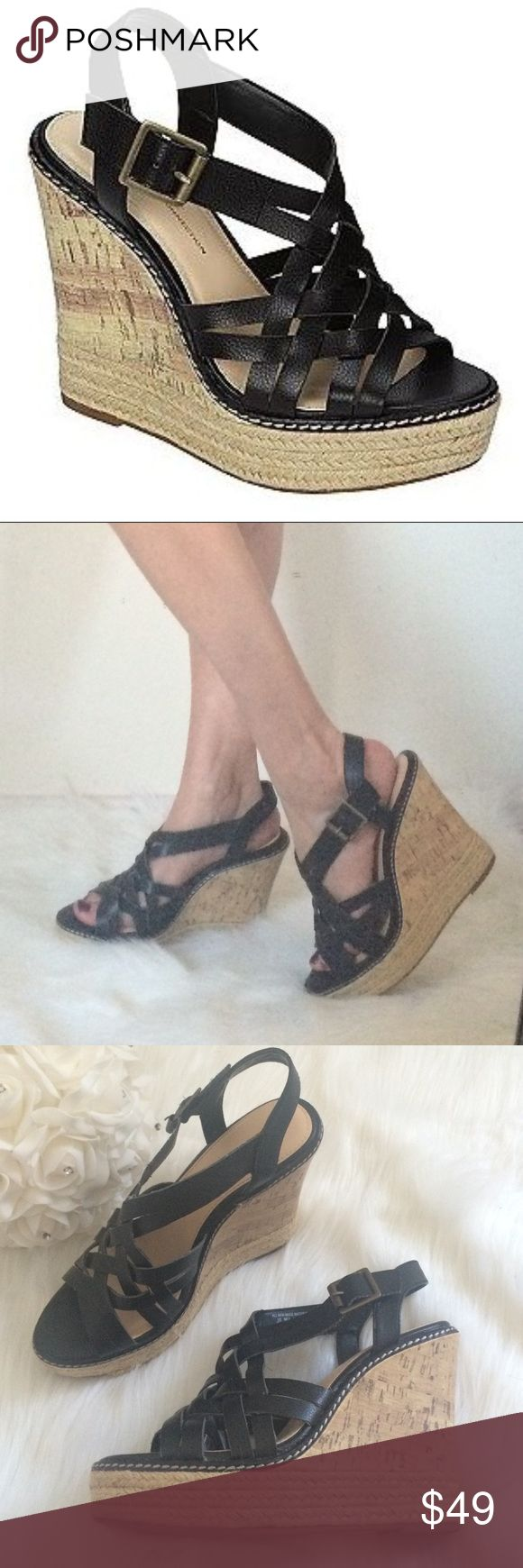 UK Style French Connection wedge heels Women's Bethany Strappy Wedge Sandal - Black- UK Style by French Connection-Shoes-Womens-Sandals. Size 8.5. Excellent condition. All man made materials. French Connection Shoes Wedges