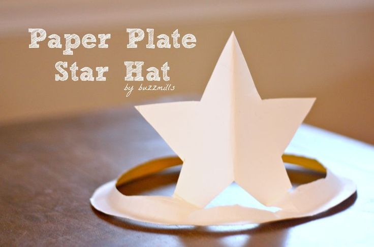 Paper plate star hat.  Cute idea for day before STAAR test for Texas students. I Could add message like go to bed early, eat breakfast, etc. onto back.