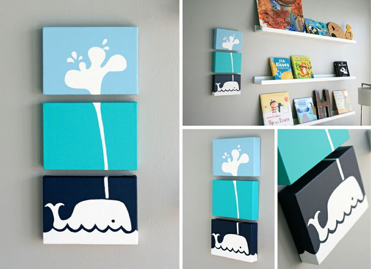 3 piece whale on canvas