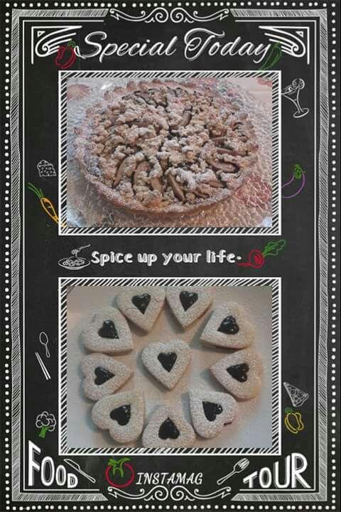 Crostata pere e cioccolato e cuori di ciliegia
