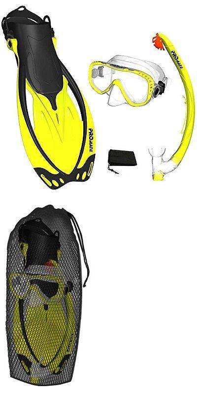 Snorkels and Sets 71162: Yellow, Sm, Scs0003, Promate Snorkeling Mask Fins Dry Snorkel Set Gear Bag New BUY IT NOW ONLY: $36.8