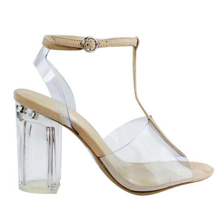 Natalie01 Natural clear perspex block heel w t strap lucite transparent straps