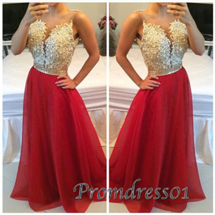 Gold lace senior prom dress with straps, ball gown 2016, handmade red chiffon long evening dress for teens, prom dress 2016 sweetheartdress.s... #coniefox #2016prom