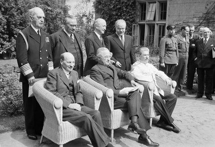 Britain's new Prime Minister, Clement Attlee, with President Truman and Marshal Stalin at the Potsdam Conference in Berlin, 1 August 1945., ...
