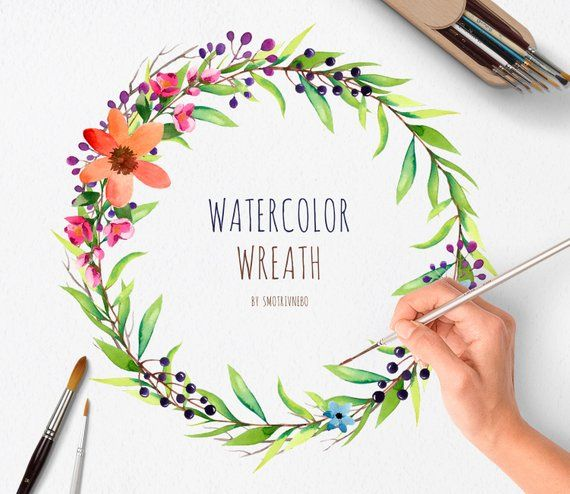 Watercolor Hand Painted Wreath:1 PNG Individual files/Wedding invitation clip art /Branches,Flowers