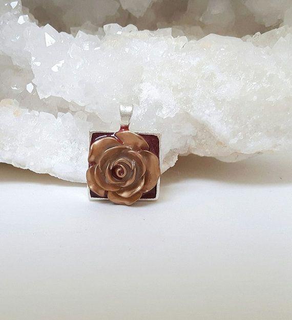 Resin Flower Pendant Gold FlowerRed ResinIrish by DelabudCreations