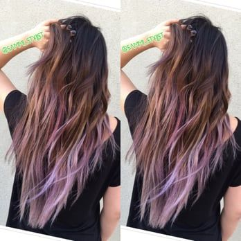 Balayage ombre of Ash Brown with lilac tips. Hair By Sammi Situ. Please text me at 6264763697 for an appointment. - Yelp