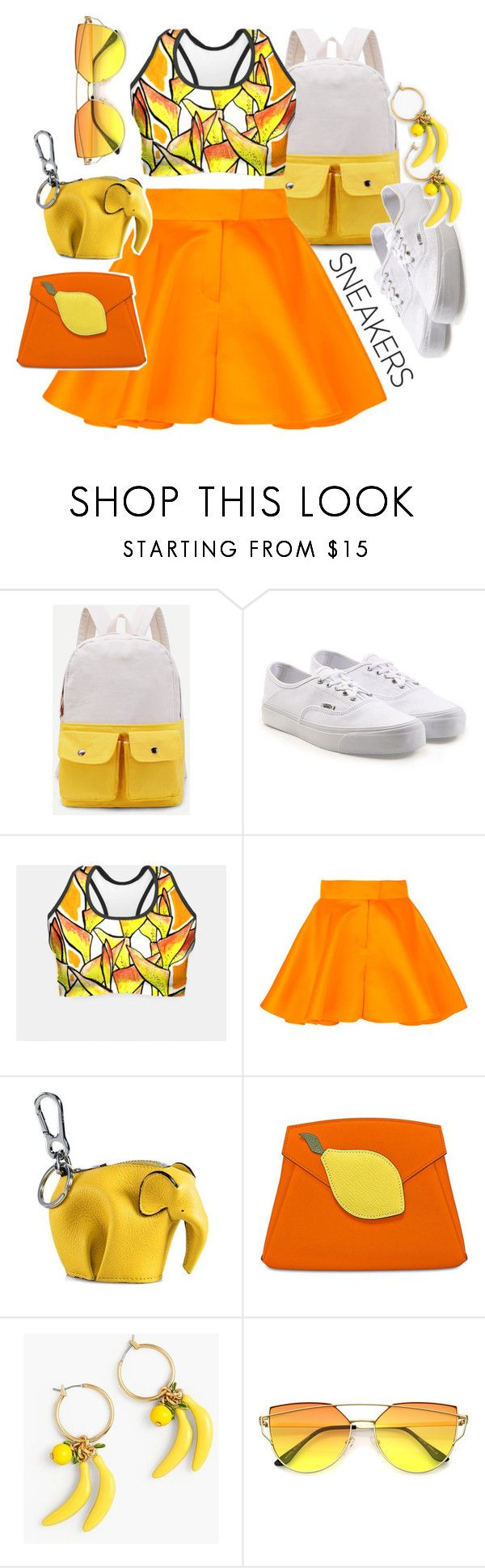 """""""Tropic Mood"""" by clipso-callipso ❤ liked on Polyvore featuring Vans, Talbot Runhof, Loewe and J.Crew"""
