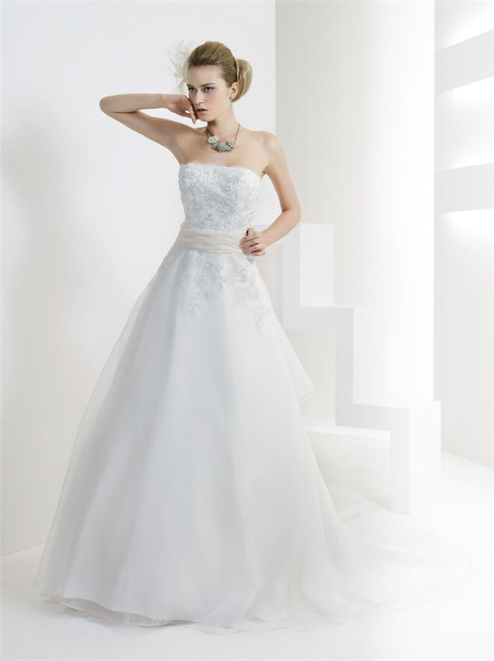 AFN strapless A-line princess beaded wedding dresses