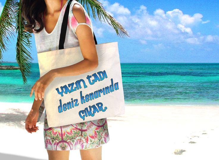 Tüm tatil aksesuarlarınızı sığdırabileceğiniz bez plaj çantaları. #totebag #bezçanta #promosyon
