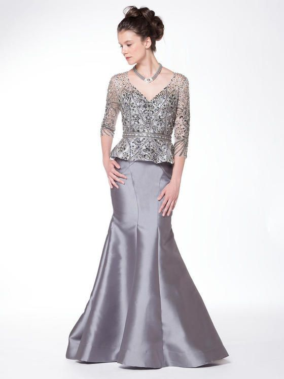Marsoni by Colors - Quarter Sleeve Beaded Illusion Gown