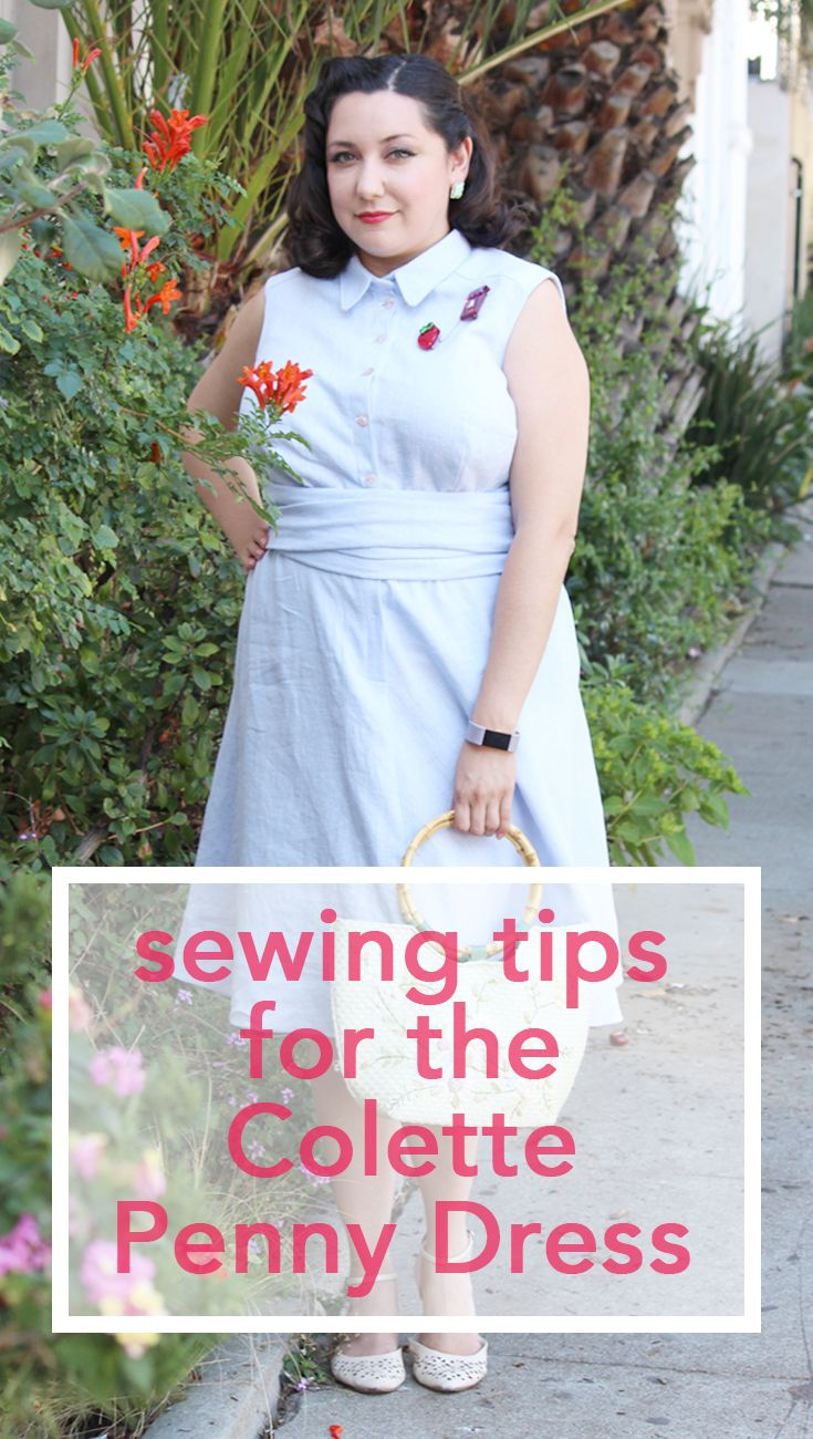 1950s inspired Colette Penny.  --- Tips for sewing the Colette Patterns Penny Shirtdress! Full tutorial with video, walking you through the process. | Vintage on Tap