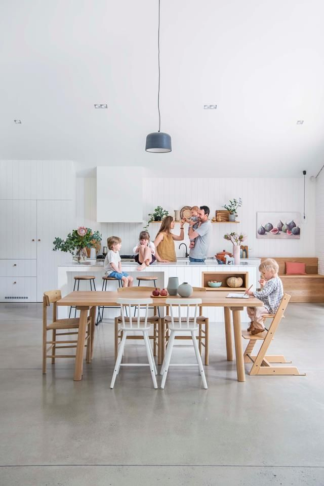 The Dining Room Has A Practical Concrete Floor And Generously Sized Table Kitchen Benchtop Is Marble Home S Furniture Blend Of Scandinavian