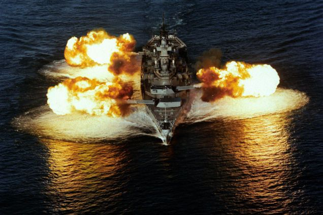 This is the USS Iowa, the first of the largest, most powerful battleship class ever in the United States Navy, equipped with nine 16-inch (406mm) guns that could fire nuclear shells—the only American ship in history with this capability.
